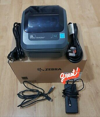 Zebra GK420d Label Thermal Printer With USB AC Adapter European Power Cable  • 175£