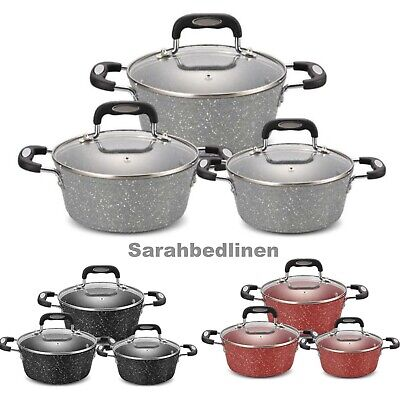 £64.99 • Buy Cookware 6 Pieces Non Stick Cooking Saucepans Pots Set With Glass Ceramic/Marble