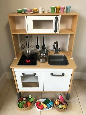 IKEA DUKTIG Kids Wooden Play Kitchen With Utensils And Food Accessories. • 45£