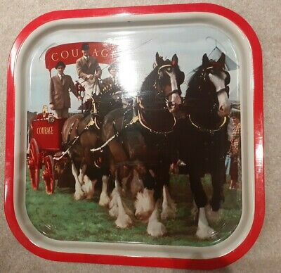 Courage Beer Tray Cart And Shire Horses Man Cave Decor • 12.95£