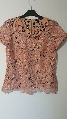 Pink Lace And Leopard Print Collar Top Size 12 LOVE LABEL  • 2.99£