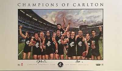 AU99 • Buy NICHOLLS & DOULL Autograph Signed Print CHAMPIONS OF CARLTON Official AFL COA