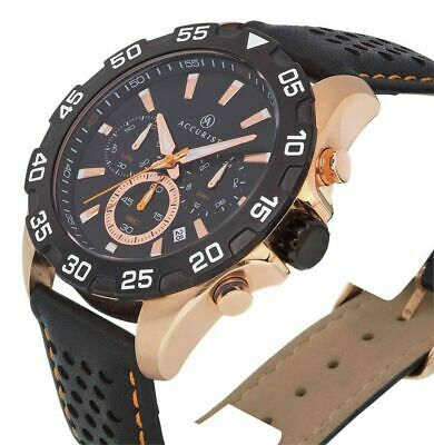 £59.99 • Buy Accurist 7049.01 Men's Black Strap Chronograph Rose Gold Plated Watch New