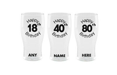 Personalised 18th 21st 30th 40th 50th 60th Pint Beer Glass 🎂 Birthday Gift 🎂 • 6.99£