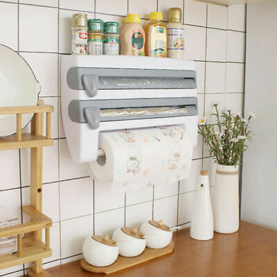 £10.99 • Buy Cling Film And Kitchen Foil Dispenser Paper Towel Roll Holder Wall Mounted Racks