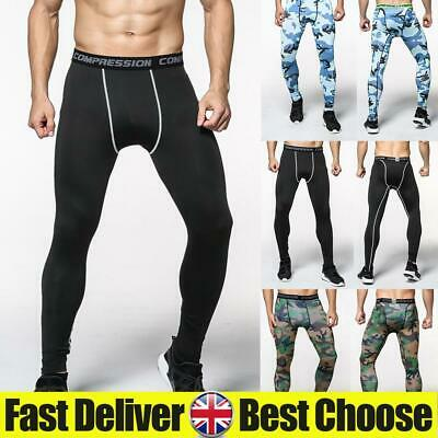 Mens Compression Base Layer Leggings Running Sport Gym Pants Stretch Trousers UK • 8.79£