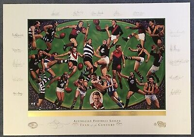 AU499 • Buy ABLETT + 14 Autograph Signed Print AFL Team Of The Century Sofilas L/Ed COA