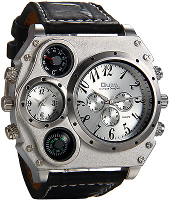 £26.99 • Buy Steam Punk Big Face Watch Dual Time Zone Leather Strap Sport Watch