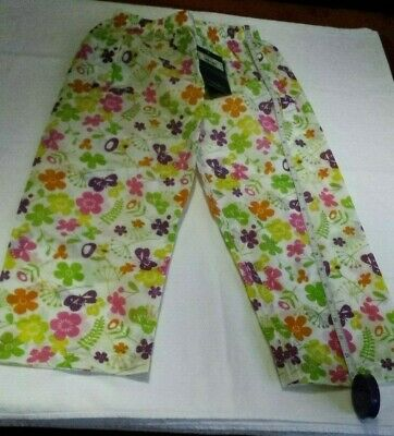 Bnwt::girl's Pretty Floral Waterproof Trousers::over-trousers::age 3 - 4 Yrs • 14£