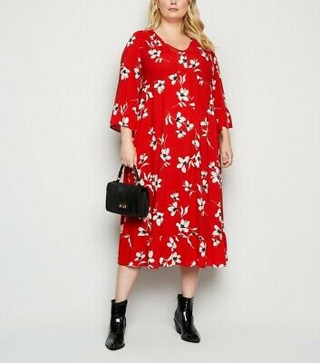 New Look Curves Size 22 Red Floral Smock Midi Dress • 12£