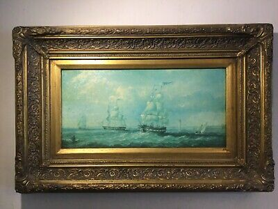 Vintage Gilt Framed Original Oil Painting On Canvas Seascape Maritime Rough Sea  • 195£