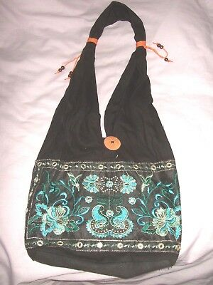 Black X Multi Embroidery X Sequin Detail Canvas Bag Bnwot Wow!! • 2.99£