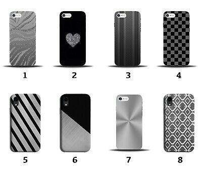 £9.99 • Buy Silver Phone Case Cover Glitter Mens Boys Zebra Print Chequered Squares 8136a