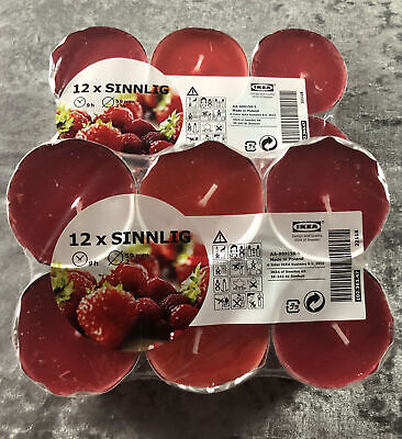 BN & Sealed Ikea Sinnlig Pack Of 12 Large Tea Light Candles X 2 In Berry Scent • 5.19£