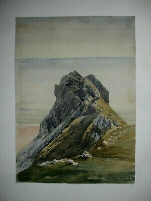 Vintage Watercolour Coastal Cliff Sea Scene • 4.99£