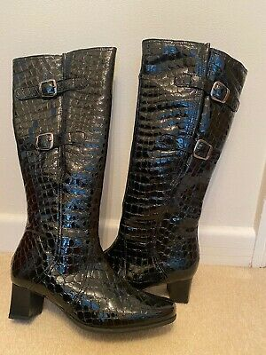 Pavers Womens Black Leather Boots Size 5 Excellent Condition • 12£