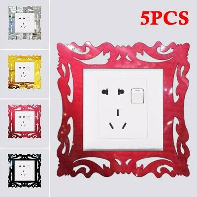 5x Silver Mirror Wall Stickers Light Switch Surround Cover Socket Frame • 6.73£