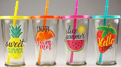 £12.99 • Buy Set Of 4 Summer Fruit Design Glass Tumbler Cups With Lid And Reusable Straws