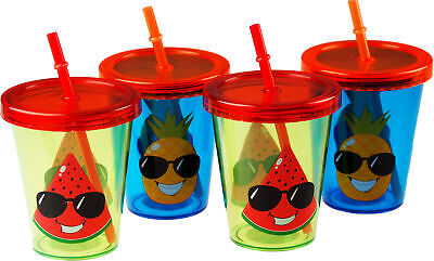 £10.99 • Buy 4 Kids Summer Cups With Lid And Reusable Straw - Watermelon Pineapple Character