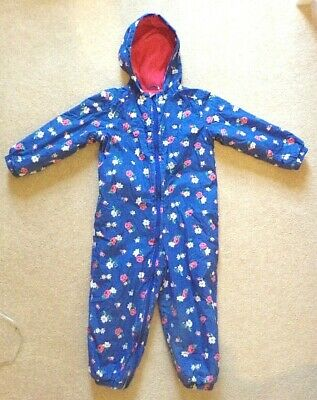 Cath Kidston Fleece Lined All-in-one Splashsuit Age 3-4 - Floral Winter Snowsuit • 6.99£