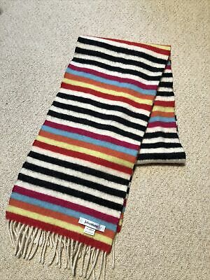 Lambswool Scarf Johnstons Warm Woolly Beautiful Made In Scotland Stripy • 2£
