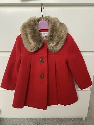 £20 • Buy Fred & Flo Baby Girl 12-18 Months Red Jacket Coat Fur Collar