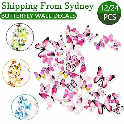 AU4.25 • Buy 12/24PCS 3D Butterfly Wall Removable Sticker Decals Kids Art Nursery Decor Magne