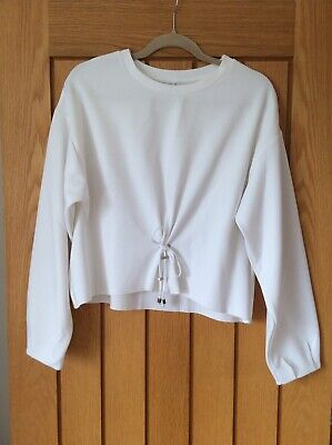 Womens Cream Size M Front Tie Detail Top • 1.30£