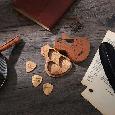 $ CDN31.85 • Buy Custom Guitar Picks Engraved Box Holder Music Gift For Guitarist Father Husband