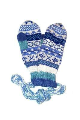Sustainable Fair Trade Finisterre Natural Wool Glove / Mittens Denim Blue • 15.95£