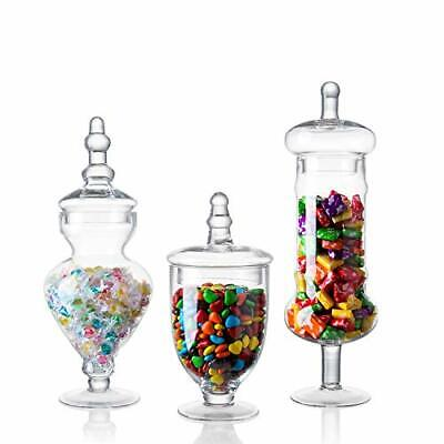 Set Of 3 Clear Glass Apothecary Jars, Decorative Weddings Candy Buffet Clear • 37.71£