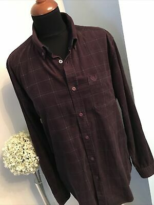 Atlantic Bay Cotton Shirt Size M Burgundy Check Long Sleeve Excellent Condition • 6.90£