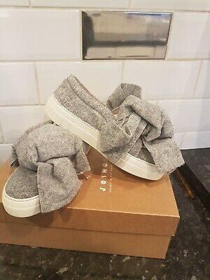 JOSHUA SANDERS Grey Felt Bow Front Trainers Shoes Sneakers Womens Genuine Size 5 • 35£