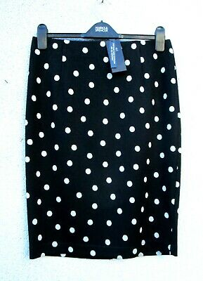 Marks & Spencer Black Polka Dot Pencil Skirt Elastic Waist With Stretch • 16.70£