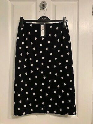 BNWT M&S Ladies Black White Polka Dot Pencil Knee Length Skirt Size 18 • 14.99£