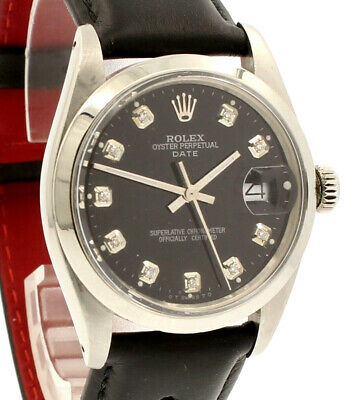 $ CDN4828.70 • Buy Mens Vintage ROLEX Oyster Perpetual Date 34mm Black Dial Diamond Stainless Watch