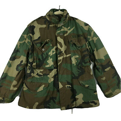 $23.99 • Buy Military M-65 Coat Cold Weather Field Woodland Camo Small X-Short Golden Mfg 90s