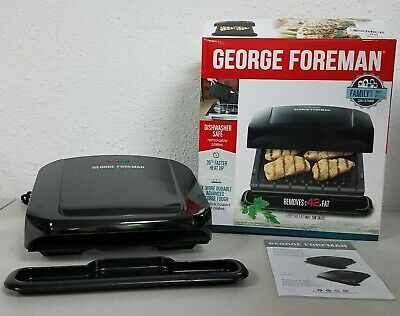 George Foreman 4-Serving Removable Plate Grill And Panini Press, Black, GRP1060 • 10.82£