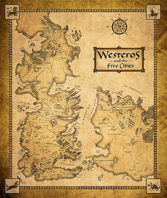 £8.49 • Buy Game Of Thrones ( 11  X 13-1/4  ) MAP  Collector's Poster Print - B2G1F