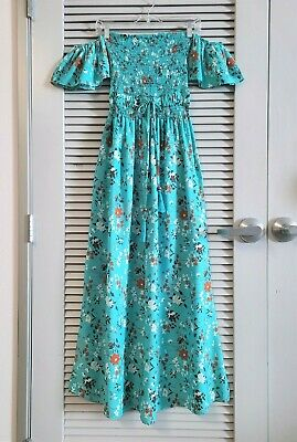$ CDN1.58 • Buy Turquoise Floral Smocking Off-shoulder Maxi Dress L W/ Anthropologie Earrings