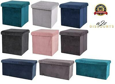 Folding Ottoman Storage Box Velvet Seat Stool Home Chair Footstool Storage Bench • 17.99£