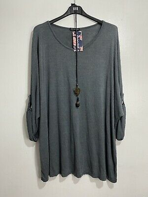 New Ladies Lagenlook Grey Casual Stretch Tunic Top & Necklace Size  18 20 22 24 • 12.50£