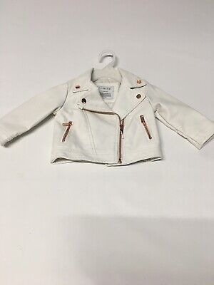 Girls White Faux Leather Jacket 6-9 Months Primark • 5£