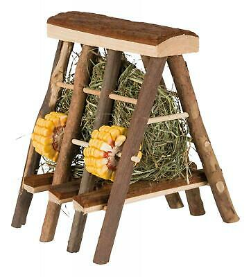 £17.99 • Buy Wooden Hay Rack With Food Hay Marigold Blossom & Seed Rings Rabbit Small Animals