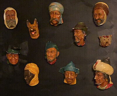 £150 • Buy 11 Vintage Bossons Head Plaque Figures Faces People Wall Art