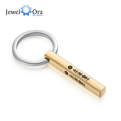 AU13.89 • Buy Personalized Keychain Music Spotify Engrave Bar KeyRing Jewelry Gift For Family