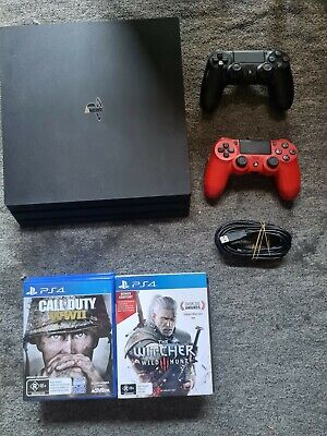 AU305 • Buy Sony PlayStation 4 Pro 1TB Black Console + 10 Games + 2 Dualshock Controllers