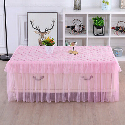 AU16.33 • Buy Dust Cover Tablecloth Lace Gauze Rectangular Table Cover Dining Home Decor BT