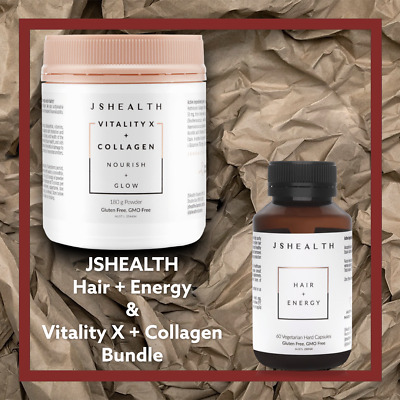AU119.95 • Buy JS Health Hair And Energy  And Vitality X + Collagen -Glow Powder BUNDLE