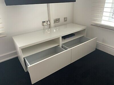 IKEA BESTA TV Bench With Drawers White - Height 41cm X Width 120cm X Depth 40cm • 53£